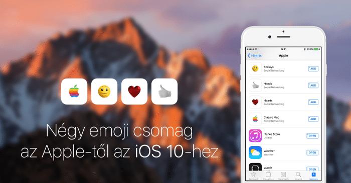 Borítókép: A négy emoji csomag az iOS 10-hez az App Store-ban.