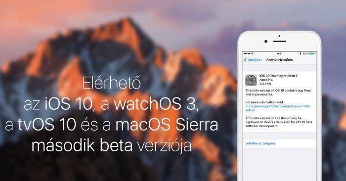 Borítókép: Elérhető az iOS 10, a watchOS 3, a tvOS 10 és a macOS Sierra második bétája.