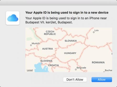 Kép: A kétlépéses hitelesítés esetén érkező jóváhagyási kérelem a macOS Sierra esetén.