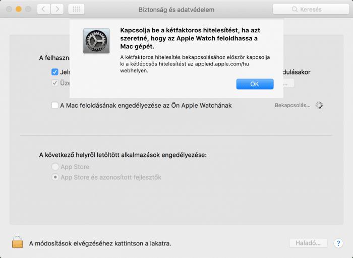 Kép: Az Apple Watch-csal való feloldáshoz kétfaktoros hitelesítés kell – képernyőfotó a macOS Sierra Rendszerbeállítások megfelelő menüpontjáról.