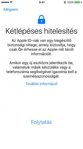 Kép: A kétlépéses hitelesítés bekapcsolása, kezdő lépés egy iPhone 6s képernyőjén.