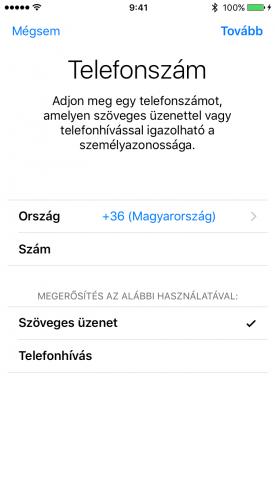 Kép: A kétfaktoros hitelesítés bekapcsolása, a telefonszámunk megadása egy iPhone 6s képernyőjén.