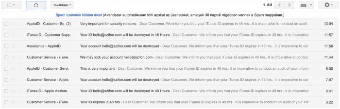 Kép: Az Apple ID-nk megszerzésére folyamatosan érkeznek adathalász levelek, a cikk közzétételének napján kapásból 9 ilyen levél érkezett.
