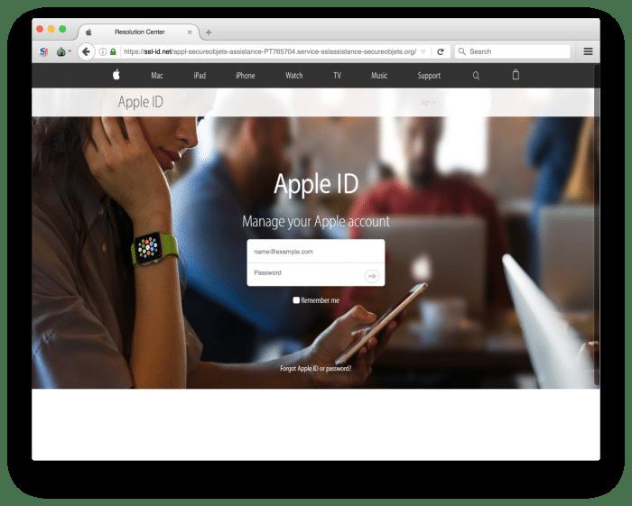 Kép: Az Apple ID-nk és jelszavunk bekérésére szolgáló, az adathalászok által készített oldal, ami az Apple weboldalának másolataként igyekszik megtéveszteni a figyelmetlen felhasználókat.