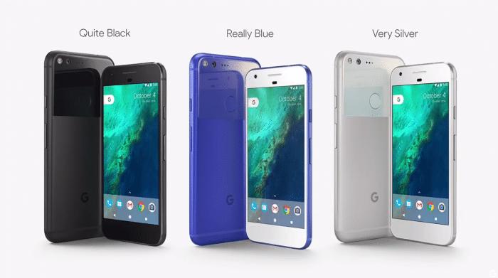 Google Pixel három színben.