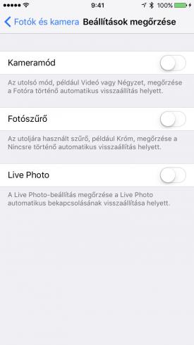 A menüpont alatti opciók: kameramód, fotószűrő, Live Photo.