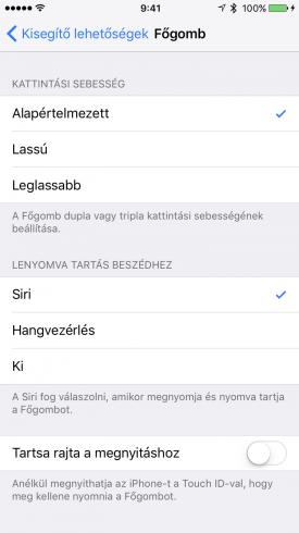 A Siri és Hangvezérlés kikapcsolásának menüpontja a Kisegítő lehetőségek alatt.