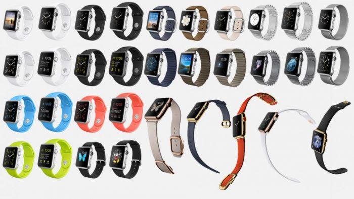 Apple Watch szíjak az órákal együtt.