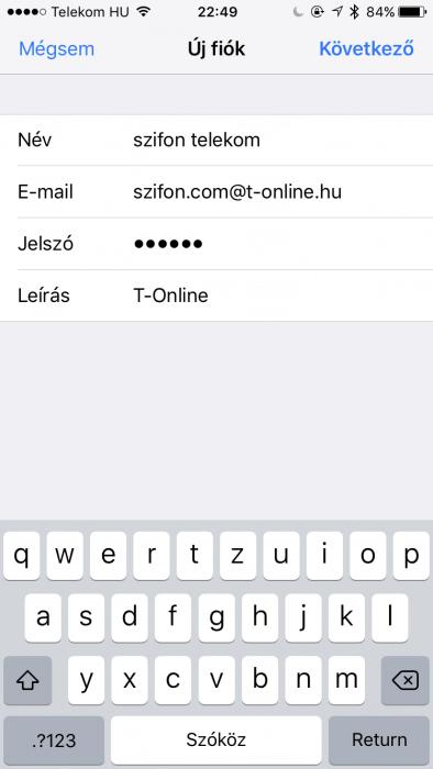 Telekom iPhone email beállítás