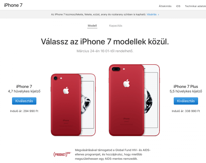 Piros iPhone 7 Product RED
