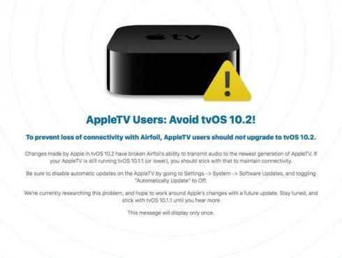 tvOS 10.2 figyelmeztetés – AirFoil