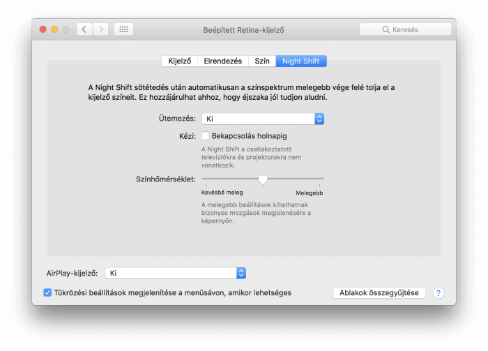 Night Shift macOS beállításai