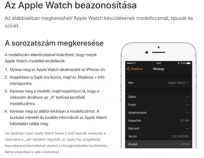 Apple Watch típus ellenőrzés