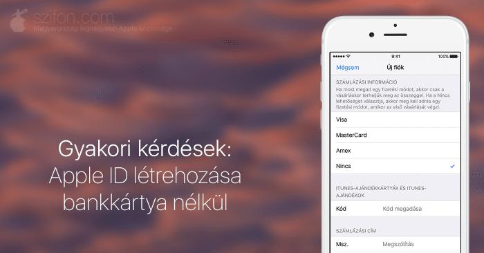Gyakori kérdések: Apple ID létrehozása bankkártya nélkül – borítókép