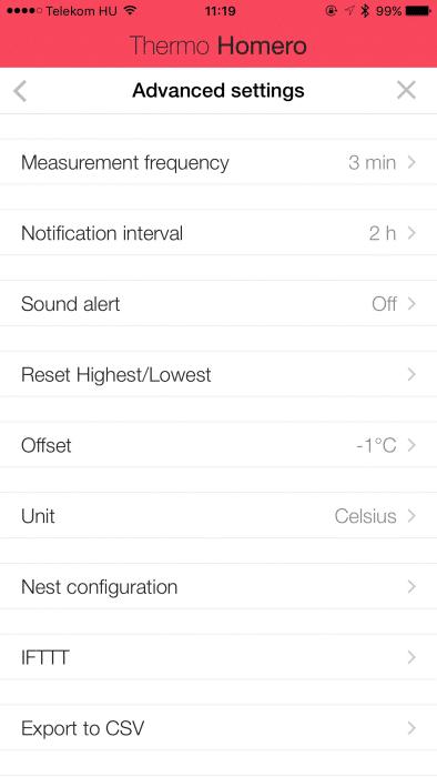 SensePenout alkalmazás, okoshőmérő