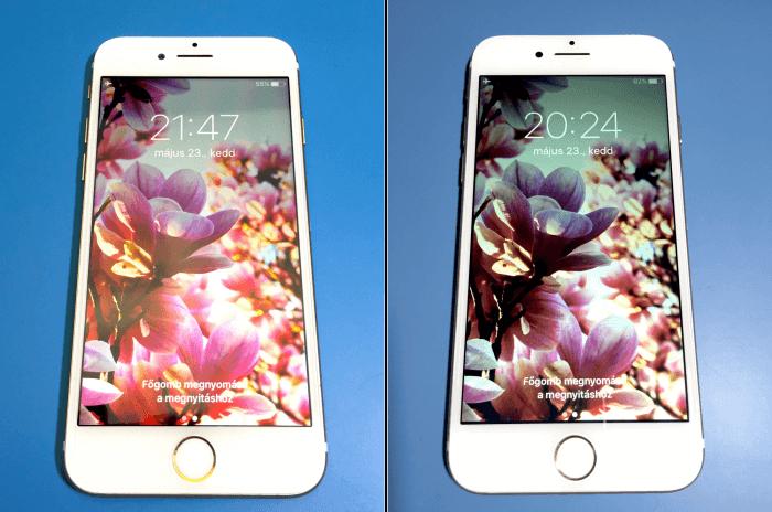 Az LCD modul : az iPhone 7 készülék 4,7 hüvelykes retina HD kijelzővel készült. Nagyon fontos az LCD minősége, látható is a két képen a színek közti különbség.
