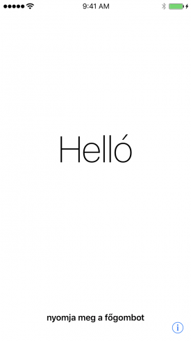 Helló – a Beállítási Asszisztens első képernyője