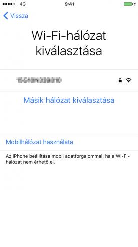 Beállítási Asszisztens – Wi-Fi vagy mobilinternet kiválasztása az aktiváláshoz