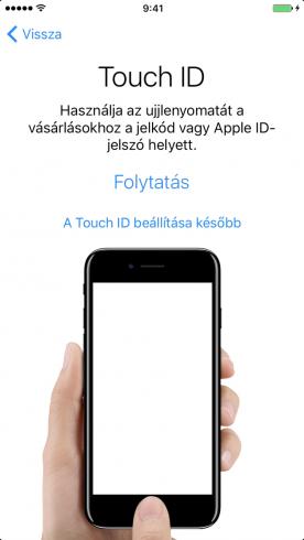 Beállítási Asszisztens – Touch ID beállítása