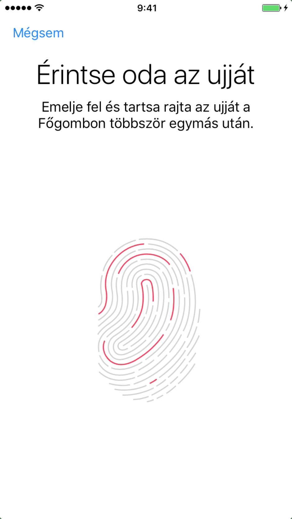 Beállítási Asszisztens – ujjlenyomat beolvasása, első lépések