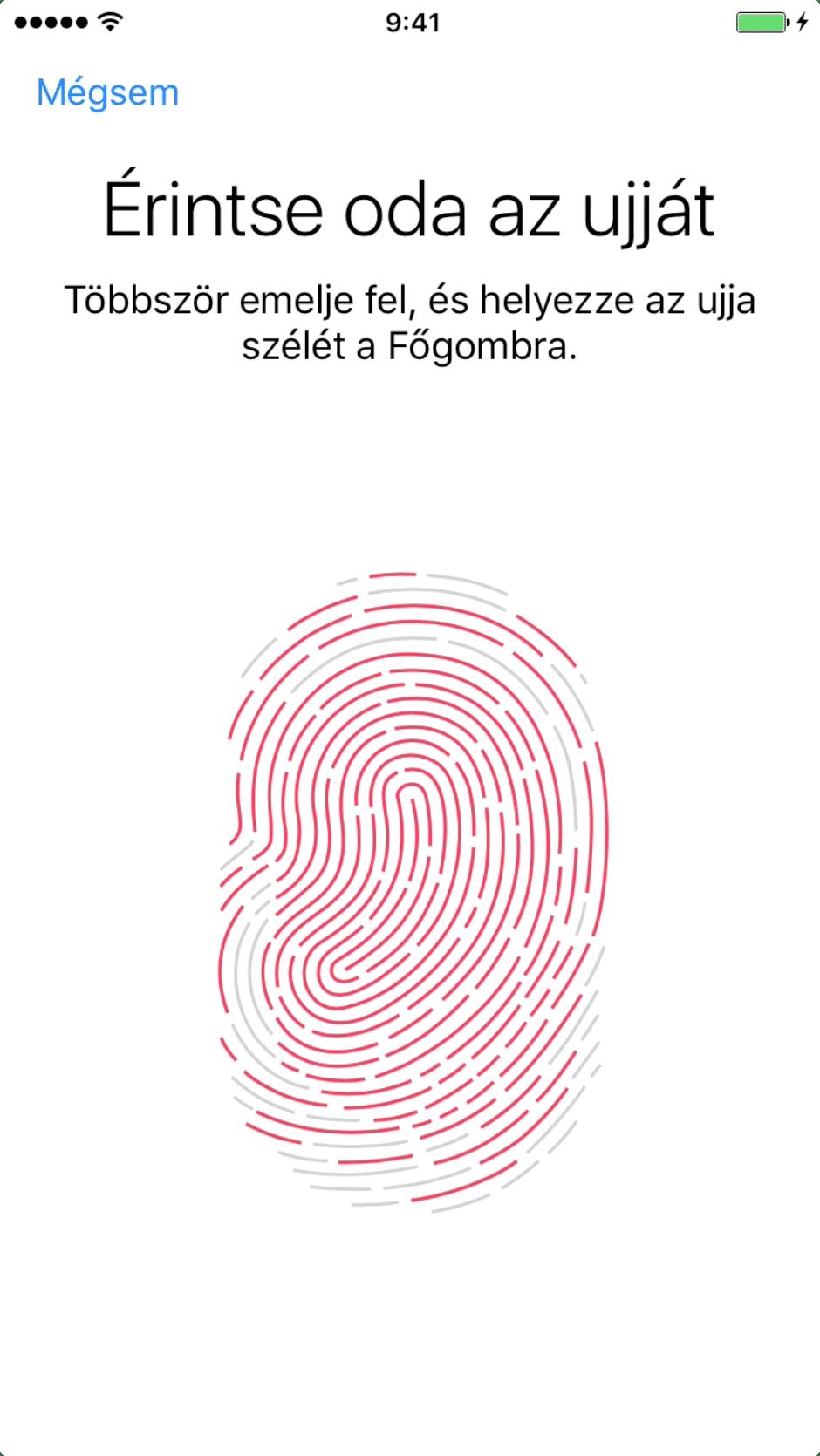 Beállítási Asszisztens – az ujjlenyomat széleinek beolvasása, majdnem kész