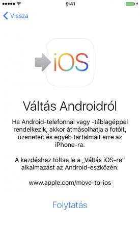Beállítási Asszisztens – költöztetés Androidról képernyő