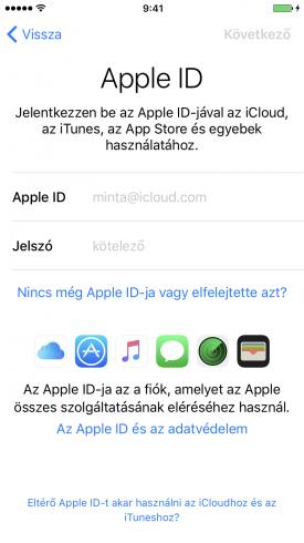Beállítási Asszisztens – beállítás újként, bejelentkezés Apple ID-val