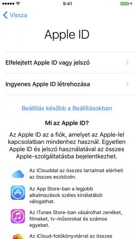 Beállítási Asszisztens – Apple ID-val való belépés kihagyása