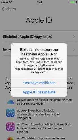 Beállítási Asszisztens – Apple ID-val való belépés kihagyása, megerősítés
