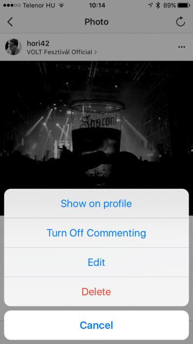 Instagram archiválás képernyőfotó