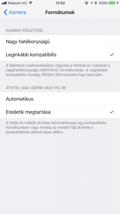iOS 11 fájlformátum kiválasztása