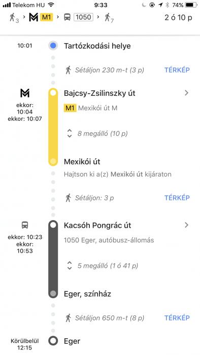 Volan menetrend a Google Maps-ben