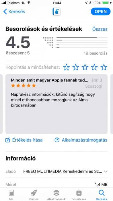 iOS 11 App Store adatlap: Szifon.com alkalmazás