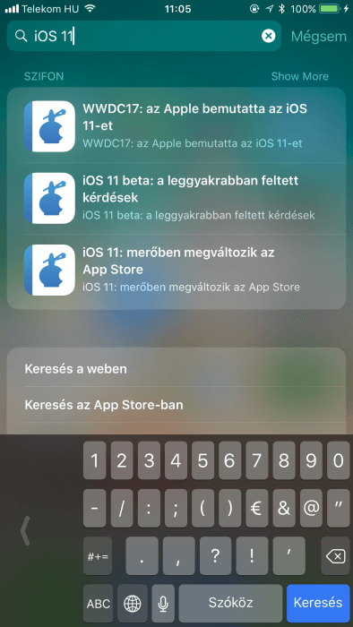 iOS 11 - egykezes gyors billentyűzet