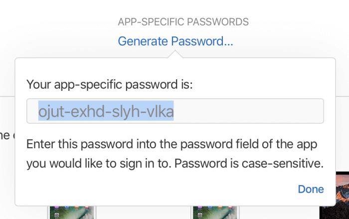 Alkalmazásspecifikus jelszó létrehozása az Apple ID alatt