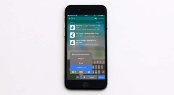 iOS 11 egykezes billentyűzet és iMessage