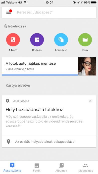 Google fotók iOS alkalmazás