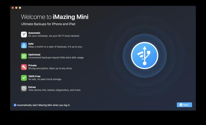 iMazing Mini, iPhone, iPad mentése macOS rendszeren