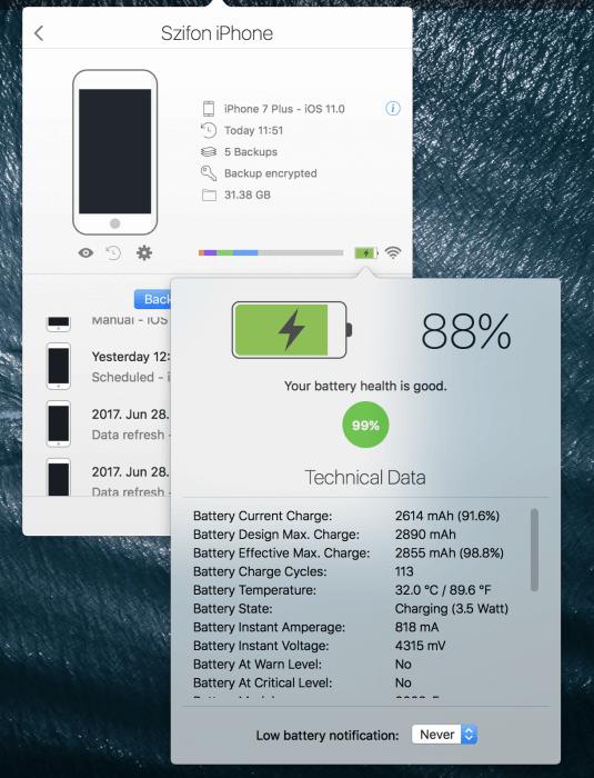 iMazing mini iPhone 7 mentés és akkumulátor információ