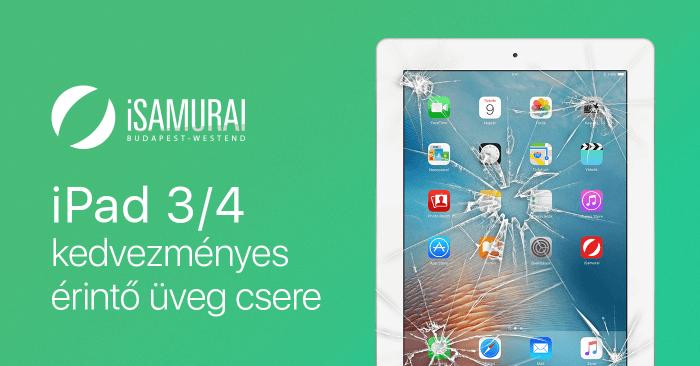 iSamurai – iPad 3/4 kedvezményes érintő üveg csere borítókép