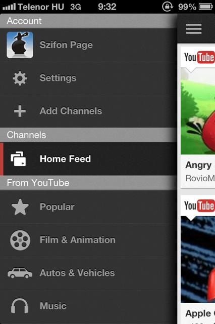 YouTube alkalmazás 2012-ből
