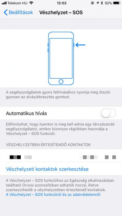 Vészhelyzet – SOS beállításai az iOS 11 alatt
