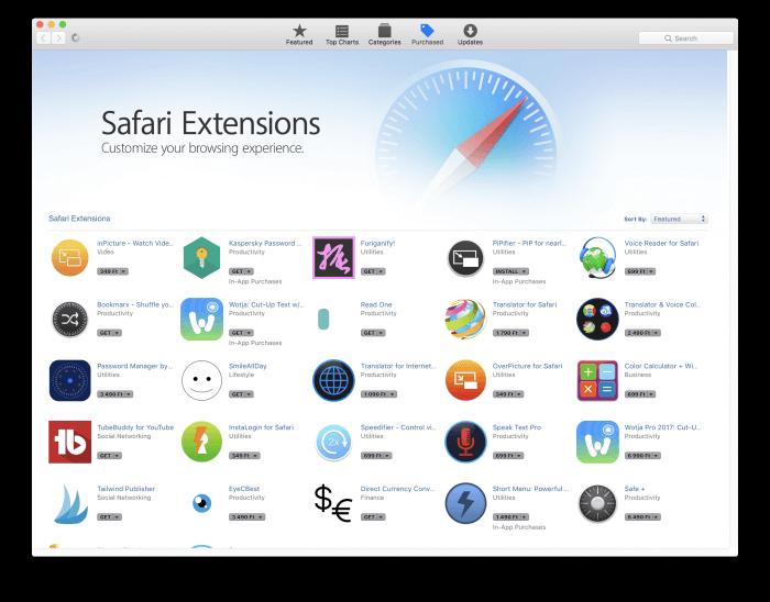 Mac App Store Safari kiegészítők