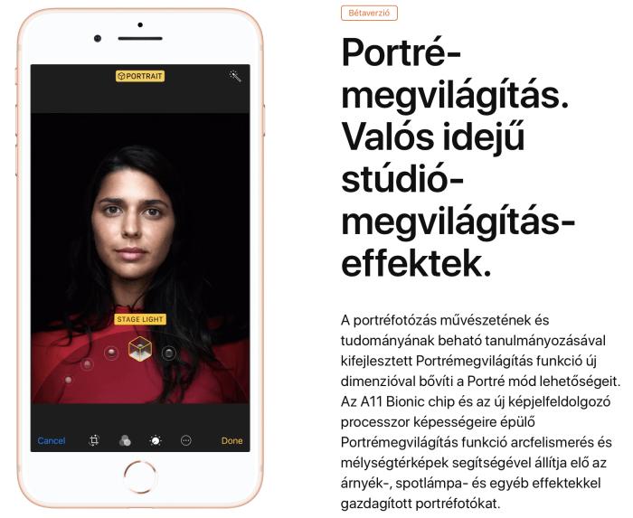 Új, portré-megvilágítás mód az iPhone 8 Plus-ban