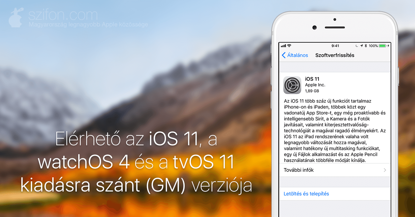 b479243c37 Az iOS 11 beta GM természetesen OTA frissítésként is elérhető a fejlesztői  béta profil telepítése után; a watchOS 4 GM szokás szerint az Apple Watch  appban ...