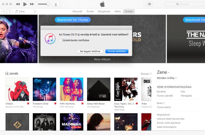 Borítókép: iTunes, rajta értesítéssel, melynek szövege: 'Az iTunes (12.7) új verziója érhető el. Szeretné most letölteni?'