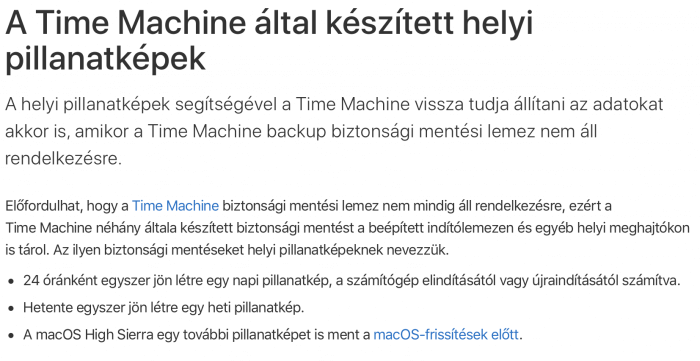 Time Machine pillanatkép