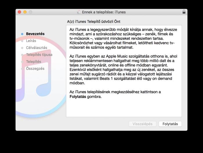 Az iTunes 12.6.3 telepítőjének nyitóképe