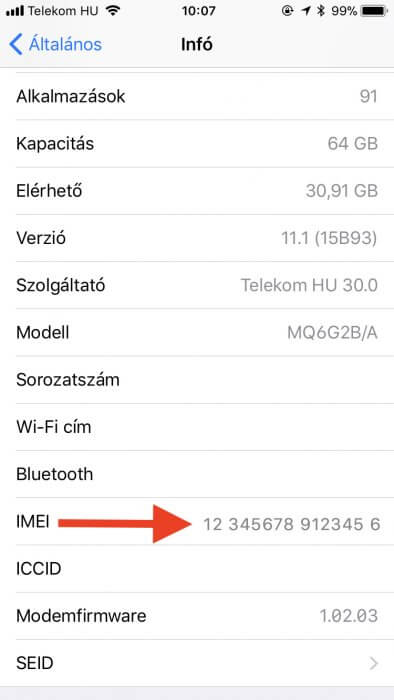 Telekom iPhone, iPad IMEI szám