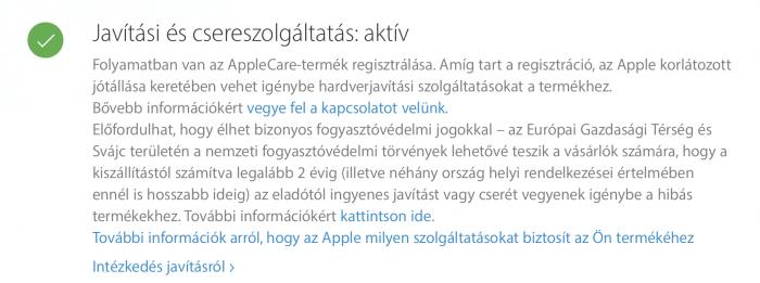 AppleCare aktiválása folyamatban van